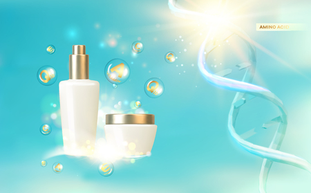 Women care cosmetic in beautiful bottles over blue background. Moisturizer with Vitamins and Regenerate Cream.