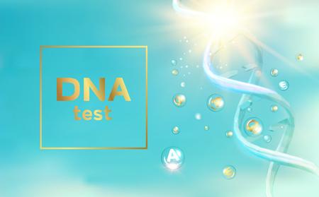 The DNA Test presentation. Chemical formula and dna molecule structure. Genetics testing of DNA spiral. Vector illustration.