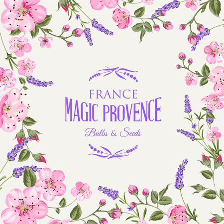 french countryside: Lavender provence memory card with frame of flowers and text. Flower garland for your text presentation. Sticker with lavender flowers. Vector illustration.
