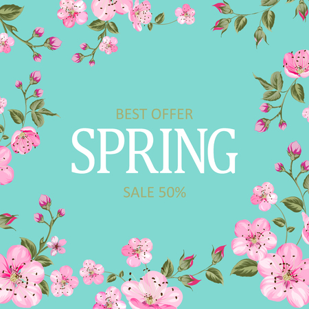 Spring best offer card with sale text. Blooming sakura rectangle frame around text over blue background. Vector illustration. Ilustracja