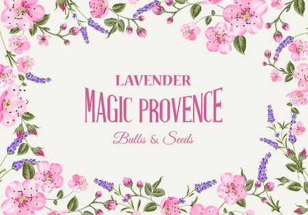 french countryside: Provence memory card with frame of flowers and text. Flower garland for your text presentation. Sticker with lavender flowers. Vector illustration.