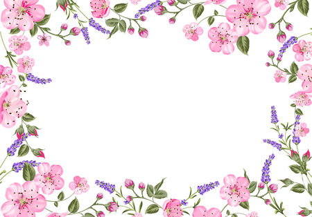 french countryside: Lavender provence card. Sticker with empty text space and lavender flowers. Vector illustration.