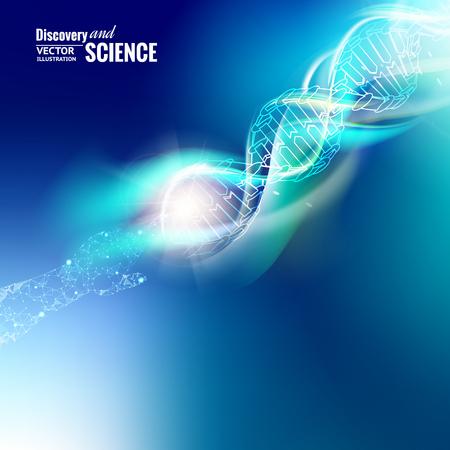 Het conceptenbeeld van de wetenschap van menselijke hand wat betreft DNA. Blauw licht abstractie van digitale kunst. Vector illustratie.