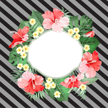 Summer jungle card with palm wreath and pattern. Tropical background with flowers.