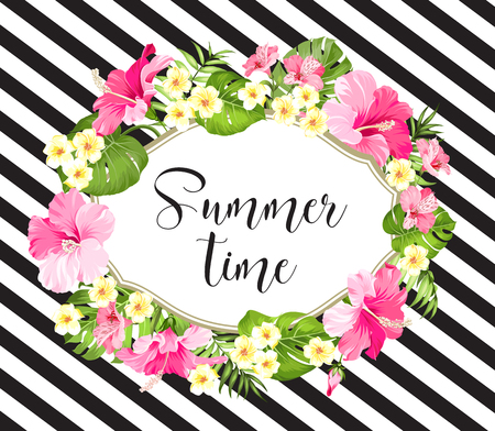 Summer time card with palm pattern. Tropical background with flowers.