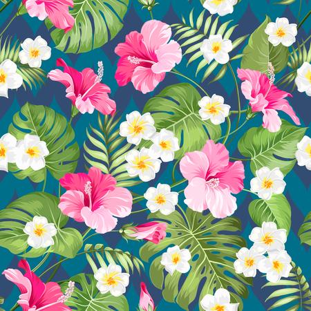 Naadloos tropisch patroon. Zomerbloemen van plumeria en hibiscus bij stoffenmonster. Mooie tegel met tropische bloemen die over kleurenachtergrond worden geïsoleerd. Blossom plumeria voor uw ontwerp.