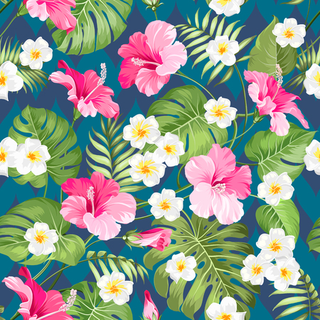 Seamless tropical pattern. Summer flowers of plumeria and hibiscus at fabric swatch. Beautiful tile with a tropical flowers isolated over color background. Blossom plumeria for your design.