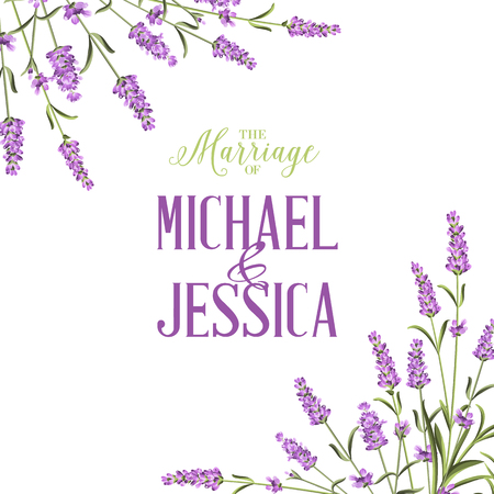 Marriage invitation card with lavender flowers. Marriage invitation card with custom sign and flower frame. Printable vintage marriage invitation with flowers over white. Lavender sign label.