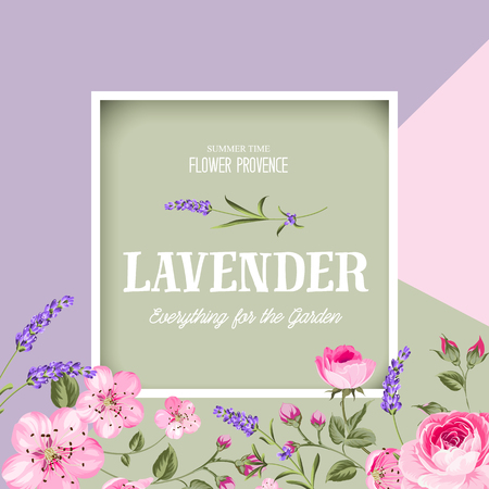 Awesome label with flowers of lavender and sakura. Bridal shower invitation with white background. Vintage floral invitation for spring or summer wedding. Vector illustration.