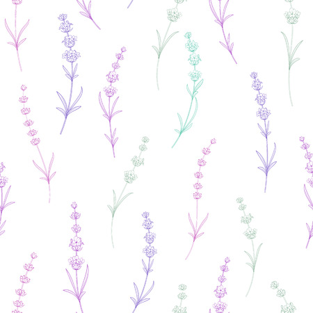 Seamless pattern of lavender flowers on a white background. Watercolor pattern with Lavender for packing. Vettoriali