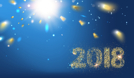 2018 New year background. Holiday label with fallen golden glitter confetti over blue backdrop. Calendar design template. Vectores