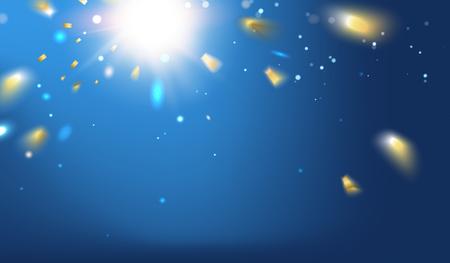 Golden confetti sparks in the dark blue . Bright sparks over deep blue space. Underwater sunrays for aqua travel design illustration. Illustration