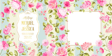 romantic date: Spring syringa flowers background for the marriage card design. Blossom flower pattern for invitation card. Vector illustration.
