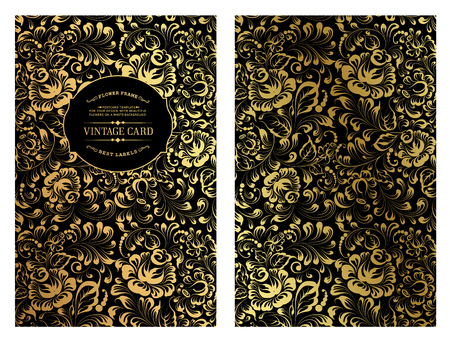 romantic date: Vintage card design with gold floral pattern on the dark background. Blossom flowers for you personal cover. Dark theme with gold lines for invitation. Vector illustration.