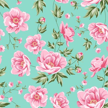 Elegantes nahtloses Pfingstrosenmuster auf weißem Hintergrund. Blumenfliesenmuster für Vintage-Design. Vektor-illustration