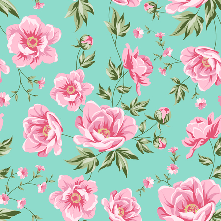 Elegant seamless peony pattern on white background. Floral tile pattern for vintage design. Vector illustration. Illustration