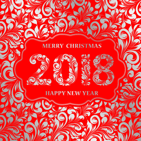 Happy new year card with khohloma style gray pattern on red background and sign 2018, marry christmas on the label. The card containes holiday template text. Vector illustration.