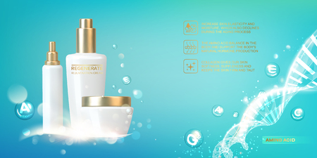 Women care cosmetic in beautiful bottles over blue background. Moisturizer with Vitamins and Regenerate Cream. Vector illustration.
