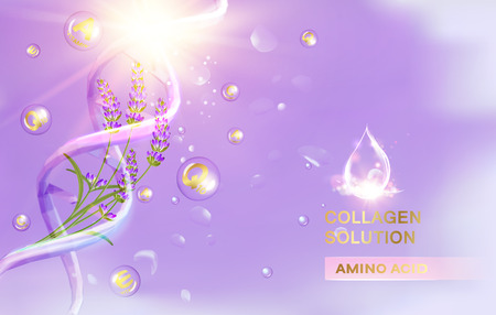 Lavender cream and oil. Women care cosmetic in beautiful bottles over green background. Moisturizer with Vitamins and Regenerate Cream containes lavender essence. Vector illustration.