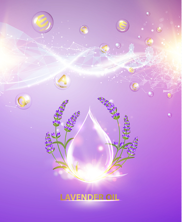 Cosmetic oil lotion with lavender flowers. Regenerate face cream and Vitamin complex concept. Shining essence droplet. Beauty skin care design over violet backdrop. Vector illustration.