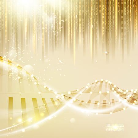 게놈 bigdata 시각화. 떨어지는 숫자 배열 추상 황금 배경 위에 DNA 체인. 벡터 일러스트 레이 션. 일러스트