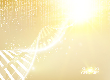 Scince illustration of bigdata with DNA molecule. Abstract binary code in matrix style over golden background. Dna bigdata visualization. Vector illustration. Ilustrace