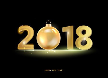 Happy new year card over black background with golden sparks. Vector illustration.