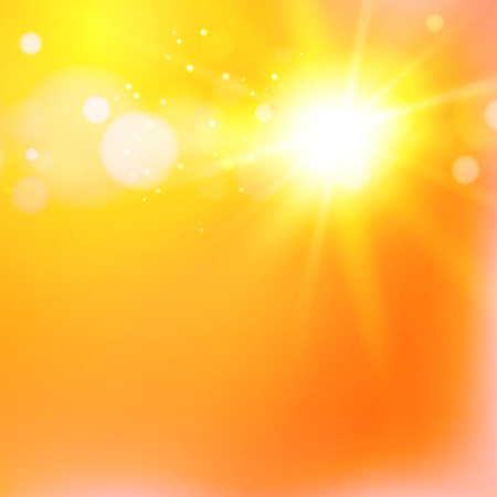The warm sun light flash over orange abstract background. Vector illustration, contains transparencies, gradients and effects.