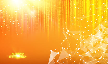 Binary code flow for bigdata process illustration. Abstract orange light background of atom for science design. Template for the poster, card, flyer or banner with a gradient of triangles.