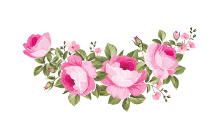 Template of invitation card. Rose garland for holiday card. Awesome flower garland with roses isolated on white. Vector illustration.