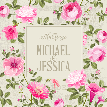 Bridal Shower invitation with flowers. Marriage design template with custom names in frame over gray background. Vector illustration. Illustration