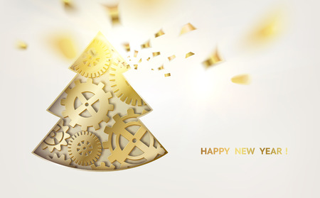 Fantasy Christmas fir tree of gears and golden confetti falls on white background, vector illustration.