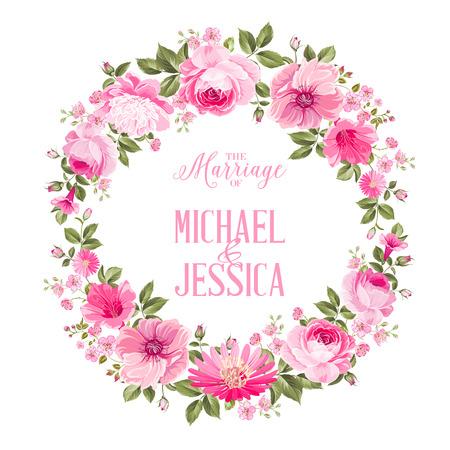 Uitnodigingskaart met bloemen krans van rozen en sjabloon tekst. Vector illustratie
