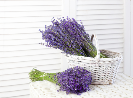 Basket with a lavender over white shutters. Lavender flowers in closeup. Stock fotó
