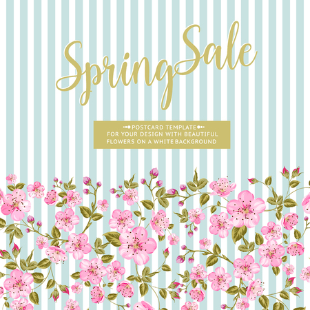 Spring sale card with text best offer. Blooming sakura rectangle frame around text over background. Vector illustration. Vectores