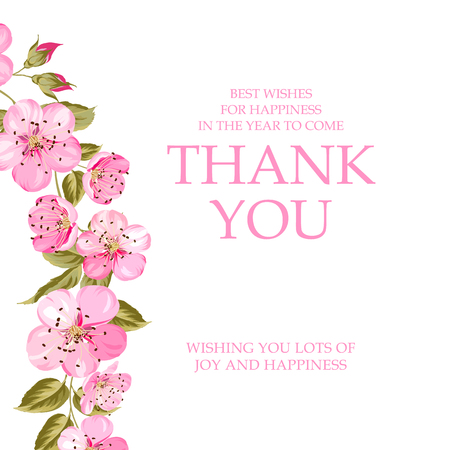 Invitation text card with Thank You sign. Spring sakura tree branch at the left side of invitation card isolated over white background and text place.