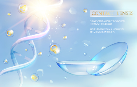 Contact lens science illustration. Medical concept with dna spyral of genome, eye lenses and sphere bubbles of vitamin. Vector illustration.