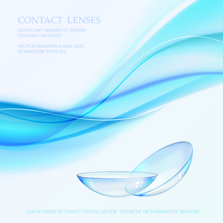 Science card with Contact Lenses sign. Blue wave flow at the top of the image over blue background and two eye lences. Vector illustration. Stock Illustratie