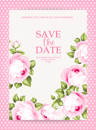 Floral invitation card. Save the date card template with blooming flowers and custom text inside pink frave. Pink roses on the gray background. Vector illustration Ilustração