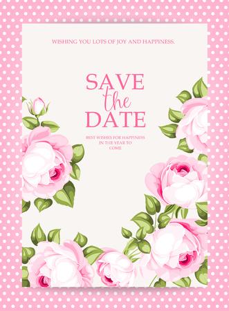 Floral uitnodigingskaart. Bewaar de datumkaartsjabloon met bloeiende bloemen en aangepaste tekst in roze frave. Roze rozen op de grijze achtergrond. Vector illustratie