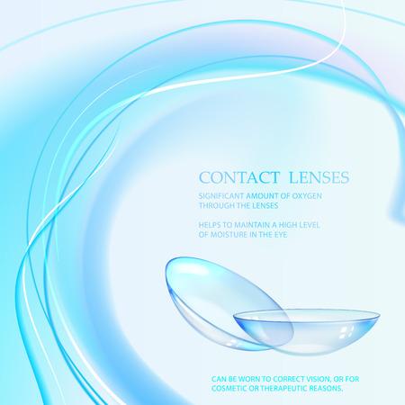 Ilustración de ciencia para diseño médico. Las lentes de contacto cuidarán su salud. Ilustración vectorial