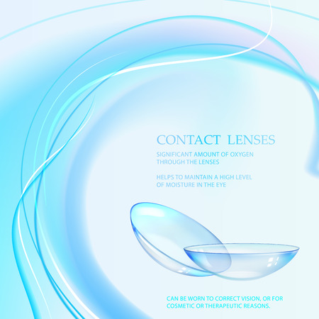 Science illustration for medical design. Contact eye lenses will care of your health. Vector illustration.