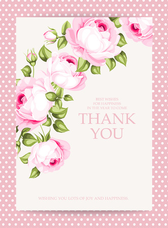 Invitation text card with Thank You sign. Blooming rose garland at the left side of invitation card isolated over white background with pink border. Vector illustration.