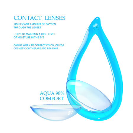 Best blue contact lenses for your eye color. Awesome Medical background. Illustration of couple transparent lens with blue water drop are isolated over white background.