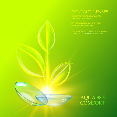 Illustration of couple transparent lenses over green nature leaves on the grass color background. Scientific vector illustration. Illustration