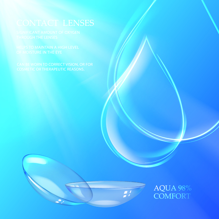 Best blue contact lenses for your eye color. Awesome medical illustration of rain drop over deep blue water background and text place. Vector illustration.