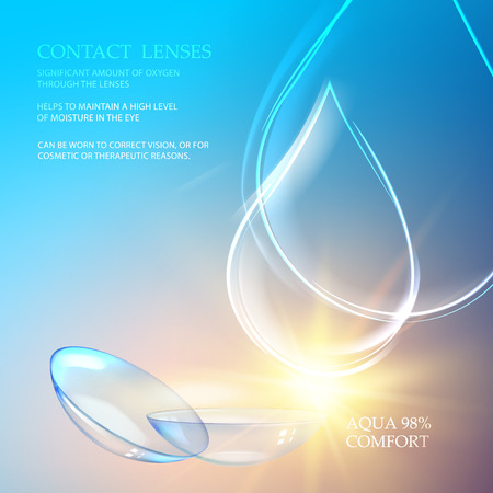 Best blue contact lenses for your eye color. Awesome medical illustration of rain drop over blue science background and text place at the top of image. Vector illustration.