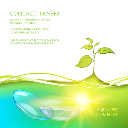 Illustration of couple transparent lenses with green nature leaves. Heathcare of your eyes. Image containes text place at the top issolated over white background. Vector illustration.