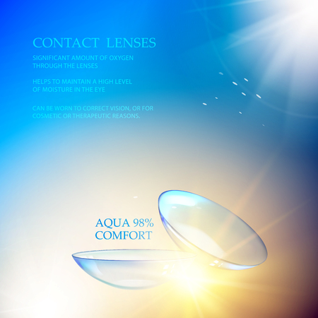 Science illustration with Contact Lenses sign. Blue flow at the top of the image over blue background and two eye lences at the bottom. Vector illustration.