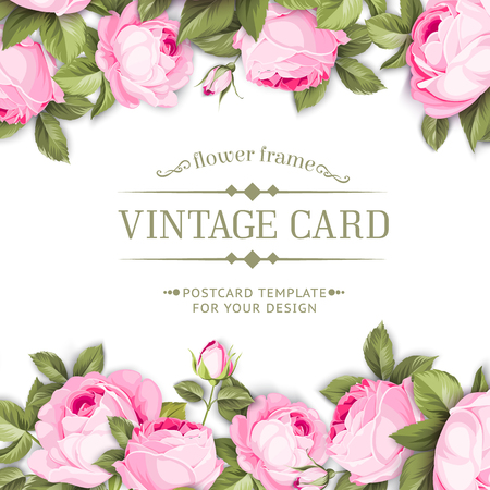 Border with blooming spring flowers in vintage style and template text space. Frame of flowers in vintage style isolated over white. Floral invitation card. Vector illustration. Illustration